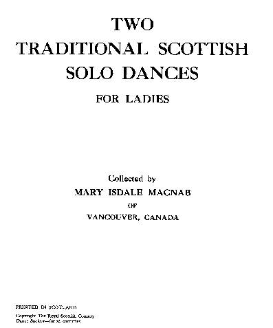 Two Traditional Scottish Solo Dances for Ladies